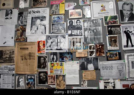Old time radio station disk jockey Danny Stiles wall of memorabilia at radio station WNYC in New York - Stock Photo