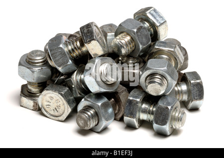 Pile of metal nuts and bolts - Stock Photo