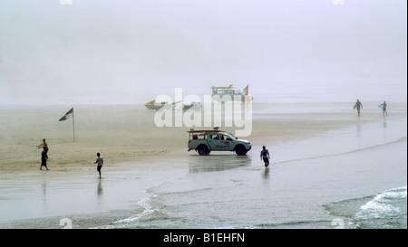 EARLY MORNING ON WOOLACOMBE BEACH. DEVON. ENGLAND. UK - Stock Photo