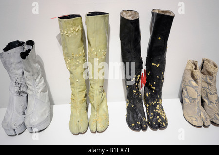 Ladies' boots at Maison Martin Margiela exhibition in Beijing, China. 13-Jun-2008 - Stock Photo
