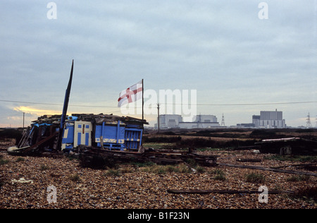 Dungeness Nuclear Power Station from the Coast Road, Dungeness Point, Kent - Stock Photo