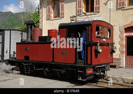 Locomotive No 36 of the Chemins de Fer de Provence at Puget Theniers station Alpes Maritimes 06 France - Stock Photo