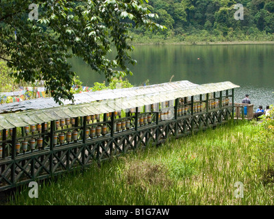Tibetan Buddhist prayer wheels line the entrance to holy Khecheopalri Lake in Sikkim India - Stock Photo