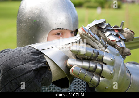 Medieval Realm Scotland's most authentic medieval, chainmail armor knight reenactment groups from late Viking times - Stock Photo