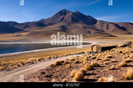 Miniques Volcano and Miscanti Lagoon in the Atacama Desert in Chile - Stock Photo