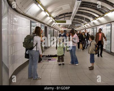 Oxford Circus Underground Station Passenger concourse - Stock Photo