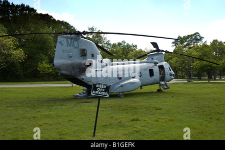 A US Marine CH-46 helicopter parked during Fleet Week - Stock Photo