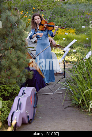 Young lady playing violin at the Botanical Garden in Riga Latvia - Stock Photo