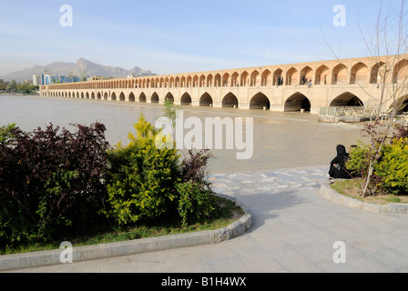 A view of Si-o-Seh Pol, also called the , IranBridge of 33 Arches, Esfahan,Iran - Stock Photo