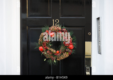 Wreath on a door - Stock Photo