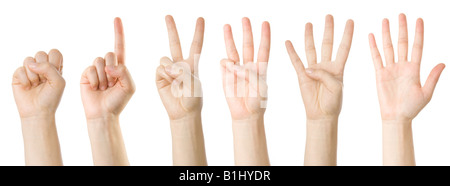 Set of hands making the numbers from 0 to 5 - Stock Photo