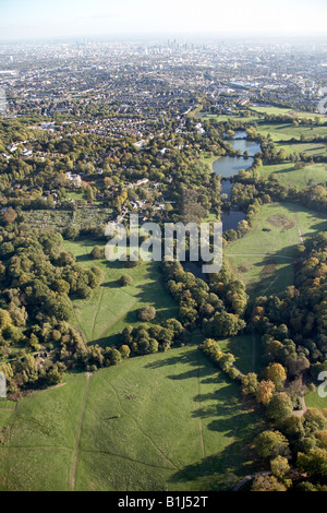 Aerial view south east of Ladies and Highgate Bathing Ponds Hampstead Heath allotment and suburban houses London - Stock Photo
