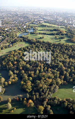 Aerial view south east of Ladies and Highgate Bathing Ponds Hampstead Heath Parliament Hill suburban houses London - Stock Photo