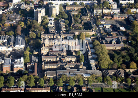 Aerial view north east of St Charles Hospital suburban houses and tower blocks North Kensington London W10 England - Stock Photo