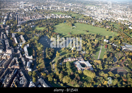 Aerial view north west of the Boating Lake Webster University Regents Park St John s Wood Primrose Hill Camden Town - Stock Photo