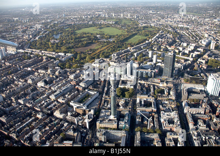 Aerial view north west of Regents Park inner city buildings British Telecommunications Tower Soho London NW1 W1 - Stock Photo