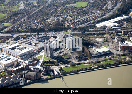 Aerial view south west of Erith suburban housing tower blocks and public buildings Queen s Road London DA8 UK High - Stock Photo