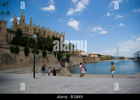 Le Seu cathedral dated in 14th century in Palma de Mallorca on the hill overlooking south coast of Mallorca Spain - Stock Photo
