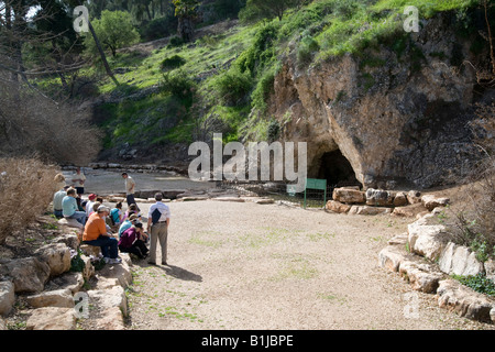 Israel Jezreel Valley The Cave of Gideon at Maayan Harod the Spring of Harod National Park - Stock Photo