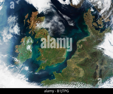 Satellite Image of The United Kingdom and The English Channel - Stock Photo