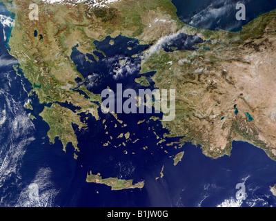 Satellite Image of Greece and Western Turkey - Stock Photo