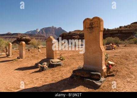 Photograph of Headstones in Grafton Cemetery, Grafton Ghost Town, Utah, USA. Located near Zion National Park. - Stock Photo