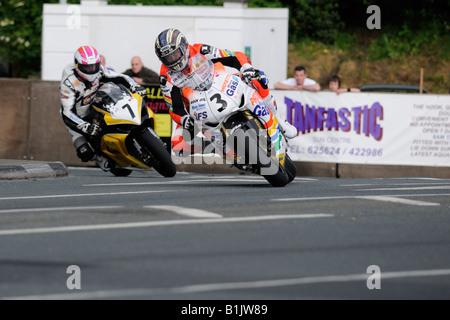 John McGuinness at Quarterbridge TT2008 - Stock Photo