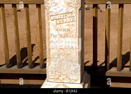 Photograph of Headstone in Grafton Cemetery, Grafton Ghost Town, Utah, USA. Located near Zion National Park. - Stock Photo
