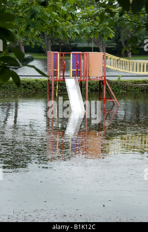 Flood Waters Empty the Childrens Playground Abingdon Road Oxford 25th July 2007 - Stock Photo