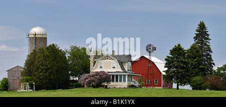 Panorama of Midwest American Farm Door County Wisconsin - Stock Photo