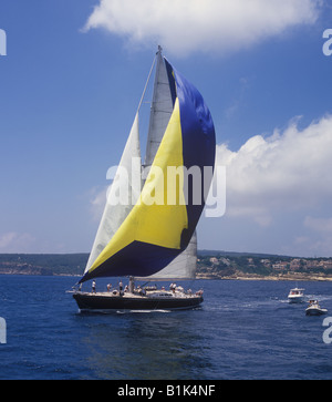 Scene during the Superyacht Cup Palma 2008 regatta sailing superyacht in the Bay of Palma de Mallorca. - Stock Photo