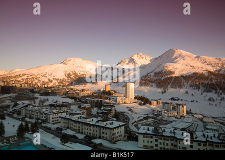 Sestriere Ski Resort Site of 2006 Winter Olympics Turin Province Piedmont Italy - Stock Photo