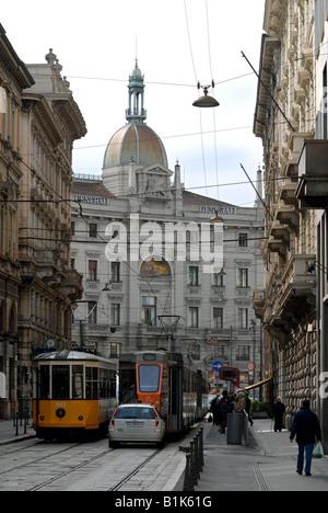 Piazza Cordusio seen from Via Broletto, Milano, Lombardy, Italy. - Stock Photo