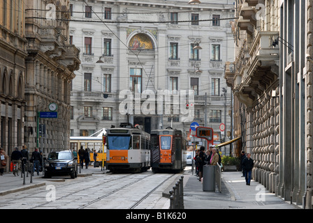 Piazza Cordusio seen from Via Broletto, Milano, Lombardy, Italy. - Stock Photo