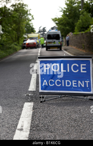 police accident temporary sign in the middle of the road at the scene of a road traffic accident county down northern - Stock Photo