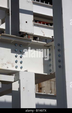 metal I bars bolted together to make the steel frame of a building belfast northern ireland - Stock Photo