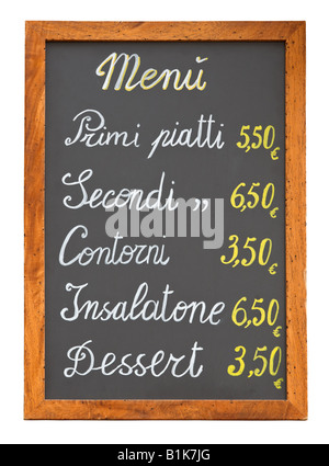 Italian fast food restaurant menu chalkboard isolated on white background - Stock Photo
