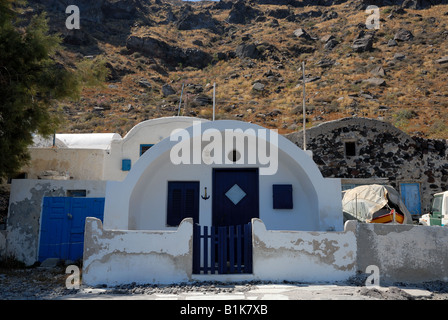 House in a village on the island Thirassia, Greece - Stock Photo