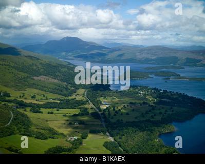 Loch Lomond & Ben Lomond from the air, Highland Scotland - Stock Photo