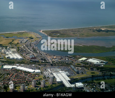 Irvine, south west Scotland, from the air - Stock Photo