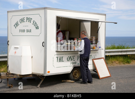 One Pot Stop Food Bar, Mobile seaside trailer parked in seaside lay-by, North-East Scotland, UK - Stock Photo