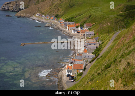 Looking down on Scottish rural houses & rooftops at the seaside coastal village at Gamrie Bay, Crovie, Banff, Banffshire, - Stock Photo