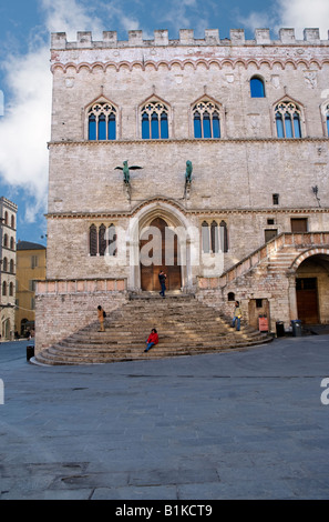 View of Priors Palace from IV November square side Perugia Umbria Italy - Stock Photo