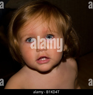 Beautiful, Blue Eyed, Baby Girl. 16 months old - Stock Photo