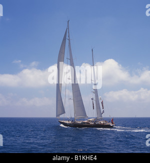 Scene during the Superyacht Cup Palma 2008 regatta sailing superyacht Scheherazade in the Bay of Palma de Mallorca. - Stock Photo