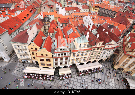 An ariel view on the Old Town square from Orloj, Prague, Czech Republic - Stock Photo