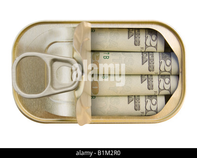 Plan view of a Ring Pull Tin containing rolled 20 Dollar notes on white background - Concept - Stock Photo
