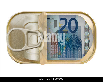 Plan view of a Ring Pull Tin containing 20 Euros on white background - Stock Photo
