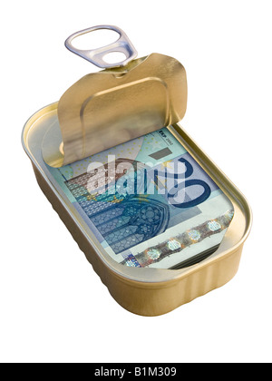Ring Pull Tin containing 20 Euro notes on white background - Concept - Stock Photo