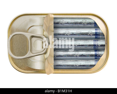 Plan view of a Ring Pull Tin containing rolled 20 Euro notes on white background - Concept - Stock Photo